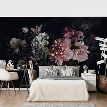 Fototapete - Blumen mit Nebel auf Schwarz