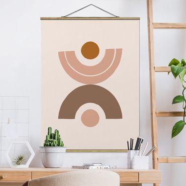 Stoffbild mit Posterleisten - Line Art Abstrakte Formen Pastell - Hochformat 4:3