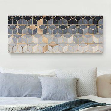 Holzbild - Elisabeth Fredriksson - Blau Weiß goldene Geometrie - Querformat 2:5