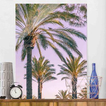 Glasbild - Palmen im Sonnenuntergang - Hochformat 4:3