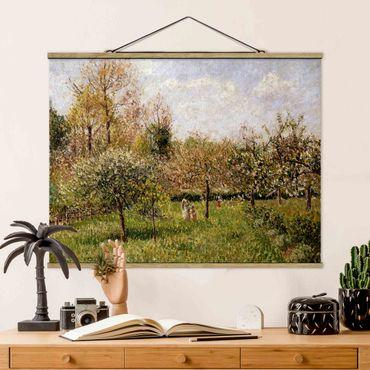 Stoffbild mit Posterleisten - Camille Pissarro - Frühling in Eragny - Querformat 3:4