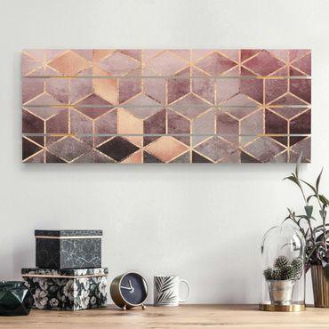 Holzbild - Elisabeth Fredriksson - Rosa Grau goldene Geometrie - Querformat 2:5