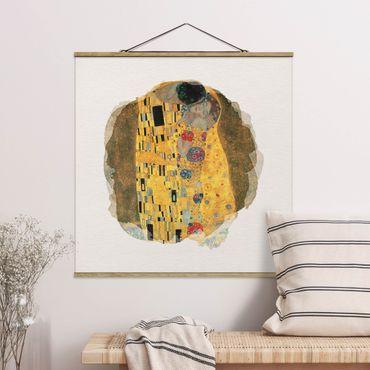 Stoffbild mit Posterleisten - Wasserfarben - Gustav Klimt - Der Kuss - Quadrat 1:1