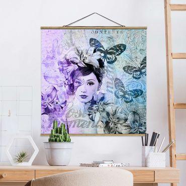 Stoffbild mit Posterleisten - Shabby Chic Collage - Portrait mit Schmetterlingen - Quadrat 1:1