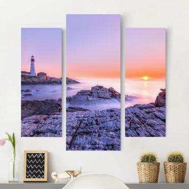 Leinwandbild 3-teilig - Leuchtturm am Morgen - Galerie Triptychon