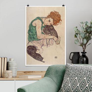 Poster - Egon Schiele - Sitzende Frau mit hochgezogenem Knie - Hochformat 3:2