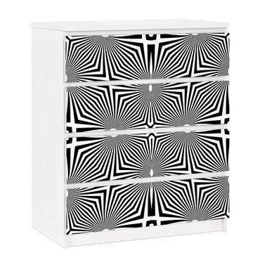 Möbelfolie für IKEA Malm Kommode - selbstklebende Folie Abstraktes Ornament Schwarzweiß