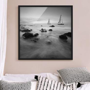 Bild mit Rahmen - Segelschiffe im Ozean II - Quadrat 1:1