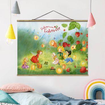 Stoffbild mit Posterleisten - Erdbeerinchen Erdbeerfee - Laternen - Querformat 4:3