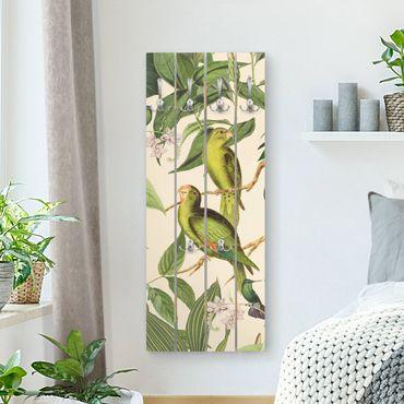 Wandgarderobe Holz - Vintage Collage - Papageien im Dschungel - Haken chrom Hochformat