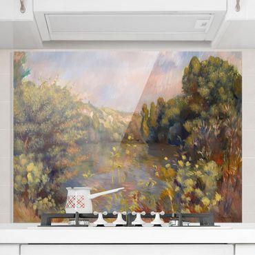 Spritzschutz Glas - Auguste Renoir - Landschaft mit See - Querformat 3:4