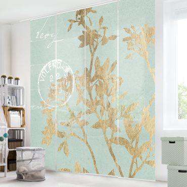 Schiebegardinen Set - Goldene Blätter auf Turquoise II - Flächenvorhang
