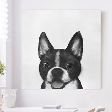 Leinwandbild - Illustration Hund Boston Schwarz Weiß Malerei - Quadrat 1:1