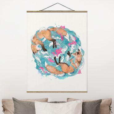 Stoffbild mit Posterleisten - Laura Graves - Illustration Füchse und Wellen Malerei - Hochformat 4:3