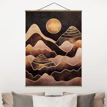 Stoffbild mit Posterleisten - Elisabeth Fredriksson - Goldene Sonne abstrakte Berge - Hochformat 4:3