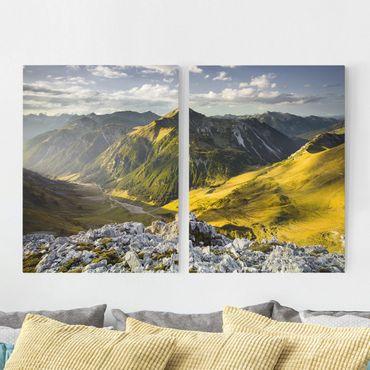 Leinwandbild 2-teilig - Berge und Tal der Lechtaler Alpen in Tirol - Hoch 3:4