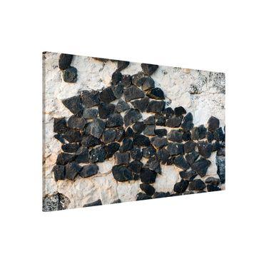 Magnettafel - Mauer mit Schwarzen Steinen - Memoboard Querformat 2:3