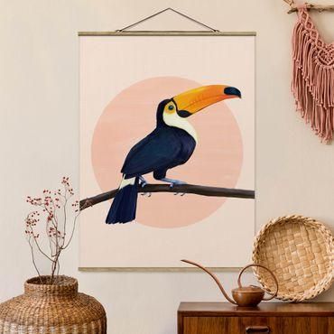 Stoffbild mit Posterleisten - Laura Graves - Illustration Vogel Tukan Malerei Pastell - Hochformat 4:3