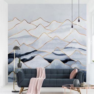 Fototapete - Aquarell Berge Weiß Gold - Fototapete Quadrat
