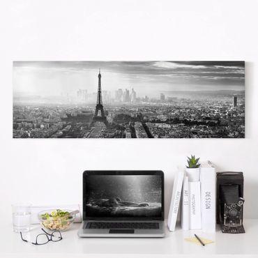 Leinwandbild - Der Eiffelturm von Oben Schwarz-weiß - Panorama 1:3