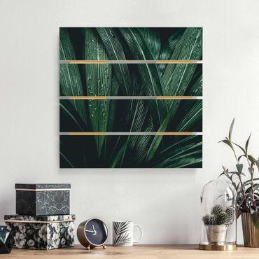 Holzbild - Grüne Palmenblätter - Quadrat 1:1
