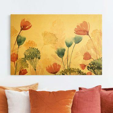 Leinwandbild Gold - Wildblumen im Sommer II - Querformat 3:2