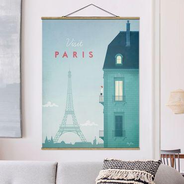 Stoffbild mit Posterleisten - Reiseposter - Paris - Hochformat 4:3