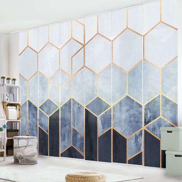 Schiebegardinen Set - Elisabeth Fredriksson - Goldene Sechsecke Blau Weiß - 6 Flächenvorhänge