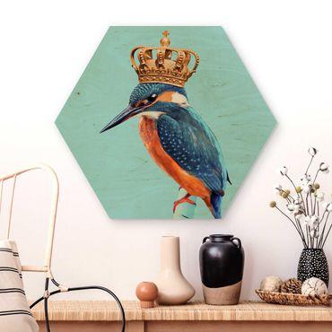 Hexagon Bild Holz - Jonas Loose - Eisvogel mit Krone