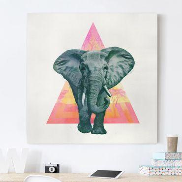 Leinwandbild - Illustration Elefant vor Dreieck Malerei - Quadrat 1:1