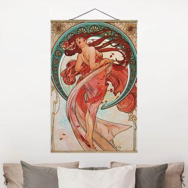 Stoffbild mit Posterleisten - Alfons Mucha - Vier Künste - Der Tanz - Hochformat 3:2