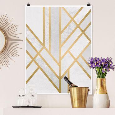 Poster - Art Deco Geometrie Weiß Gold - Hochformat 4:3