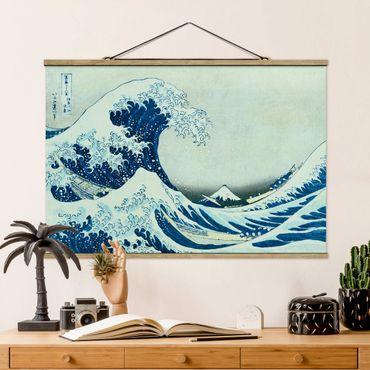 Stoffbild mit Posterleisten - Katsushika Hokusai - Die grosse Welle von Kanagawa - Querformat 2:3