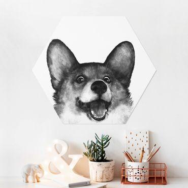 Hexagon Bild Forex - Illustration Hund Corgi Weiß Schwarz Malerei