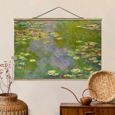 Stoffbild mit Posterleisten - Claude Monet - Grüne Seerosen - Querformat 3:2