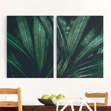 Leinwandbild 2-teilig - Grüne Palmenblätter - Hoch 3:4