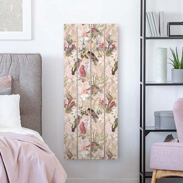 Wandgarderobe Holz - Rosa Pastell Vögel mit Blumen - Haken chrom Hochformat
