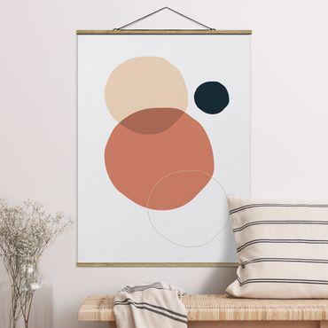 Stoffbild mit Posterleisten - Line Art Kreise Pastell - Hochformat 4:3