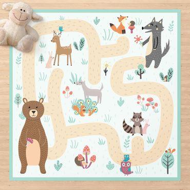 Vinyl-Teppich - Spielteppich Waldtiere - Freunde auf dem Waldweg - Quadrat 1:1