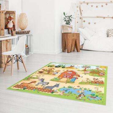 Vinyl-Teppich - Spielteppich Bauernhof - Landarbeit macht Spaß - Quadrat 1:1