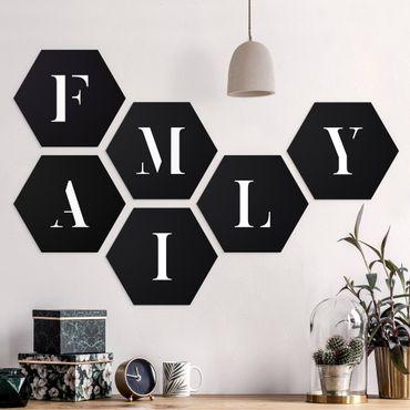 Hexagon Bild Forex 6-teilig - Buchstaben FAMILY Weiß Set II