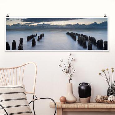 Poster - Holzbuhnen in der Nordsee auf Sylt - Panorama Querformat