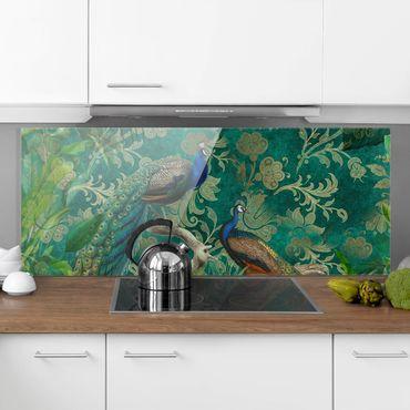 Spritzschutz Glas - Shabby Chic Collage - Edler Pfau II - Panorama
