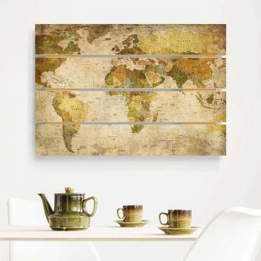 Holzbild - Weltkarte - Querformat 2:3