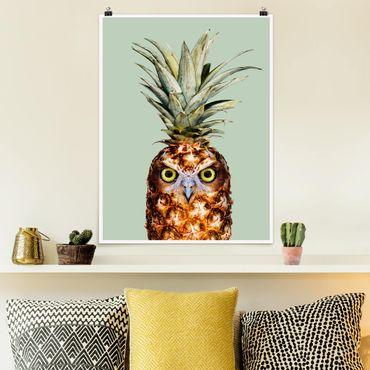 Poster - Jonas Loose - Ananas mit Eule - Hochformat 3:4