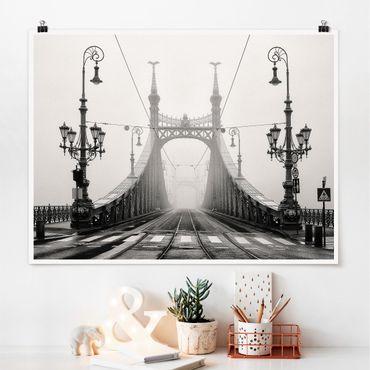 Poster - Brücke in Budapest - Querformat 3:4