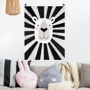 Poster - Tierpark mit Mustern - Löwe - Hochformat 3:4