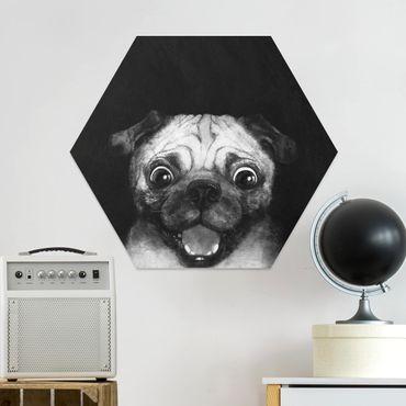 Hexagon Bild Forex - Illustration Hund Mops Malerei auf Schwarz Weiß