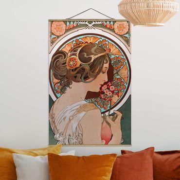 Stoffbild mit Posterleisten - Alfons Mucha - Schlüsselblume - Hochformat 3:2
