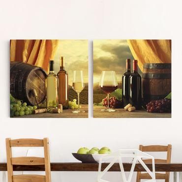Leinwandbild 2-teilig - Wein mit Ausblick - Quadrate 1:1